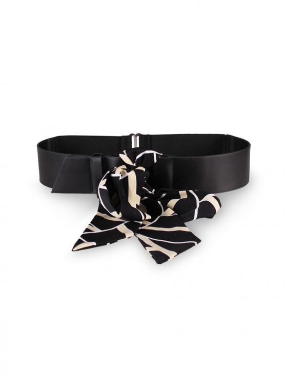 trendy Striped Scarf Dress PU Belt - BLACK