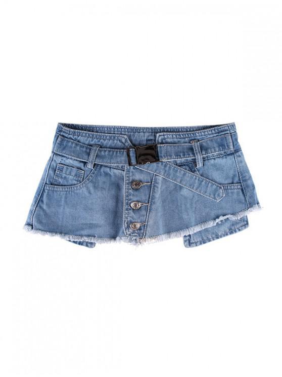 ปุ่มมินิกระโปรงออกแบบกางเกงยีนส์เข็มขัด - ฟ้าอ่อน