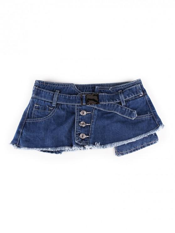 ปุ่มมินิกระโปรงออกแบบกางเกงยีนส์เข็มขัด - สีน้ำเงินเข้ม