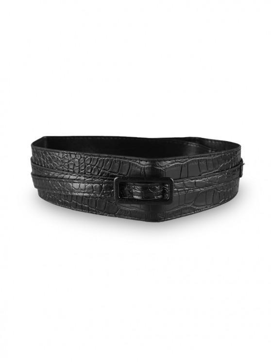 unique Solid PU Buckle Dress Belt - BLACK
