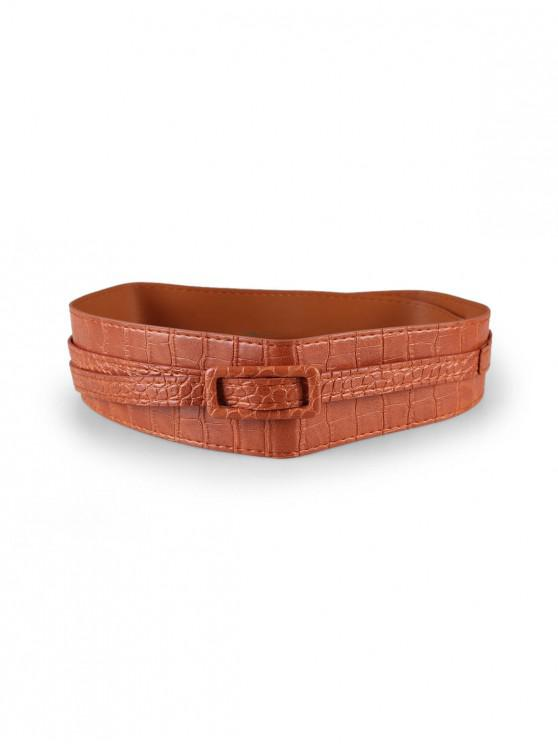 sale Solid PU Buckle Dress Belt - CAMEL BROWN