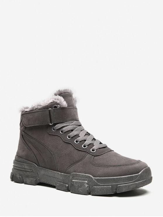new Hook Loop Lace Up Brushed Cargo Boots - GRAY EU 42