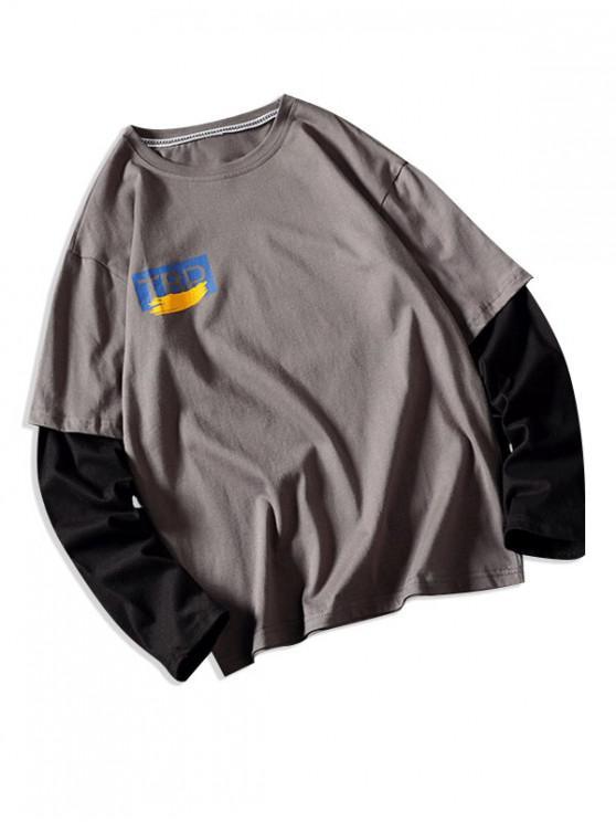 Faux dos piezas impresas gráfico camiseta ocasional - Gris XS