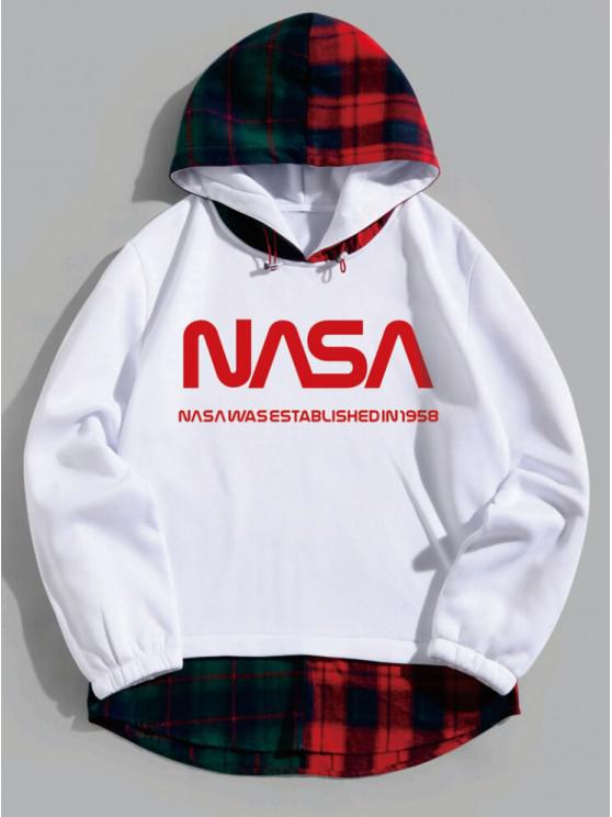 latest Faux Twinset Letter Printed Plaid Hoodie - WHITE 3XL