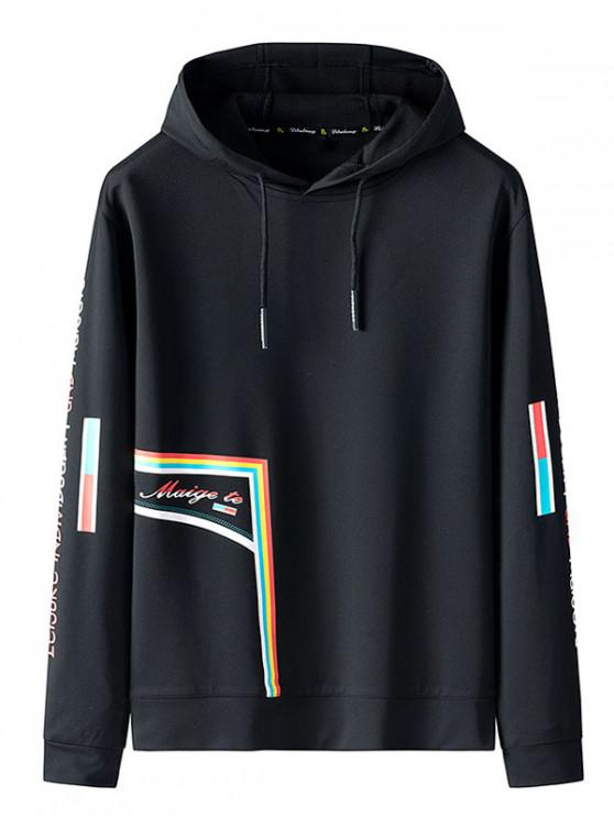 buy Letter Pattern Leisure Hoodie - BLACK S