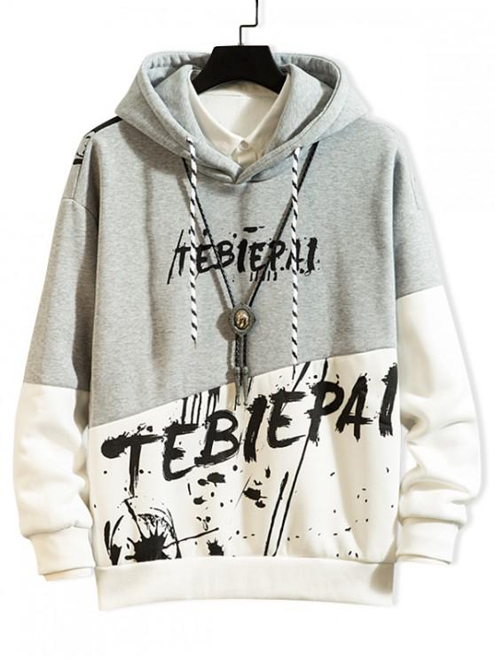 outfits Letter Painting Colorblock Spliced Fleece Hoodie - GRAY CLOUD XL