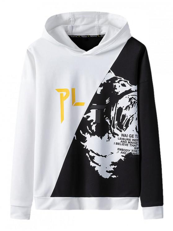 latest Graphic Pattern Colorblock Drawstring Hoodie - WHITE L