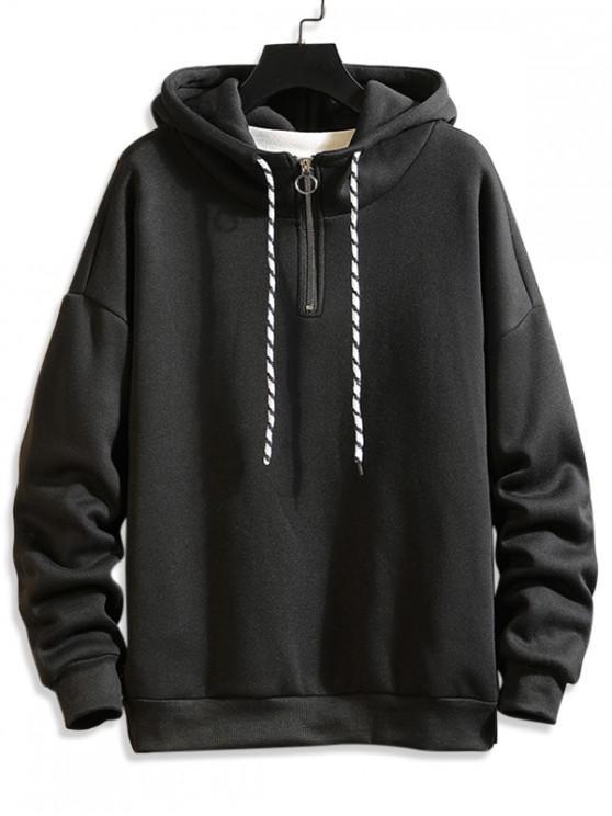 chic Solid Ring Vent Zip Drawstring Fleece Hoodie - BLACK 2XL