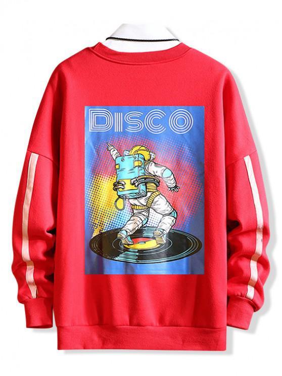 best Graphic Print Drop Shoulder Casual Sweatshirt - RED 2XL