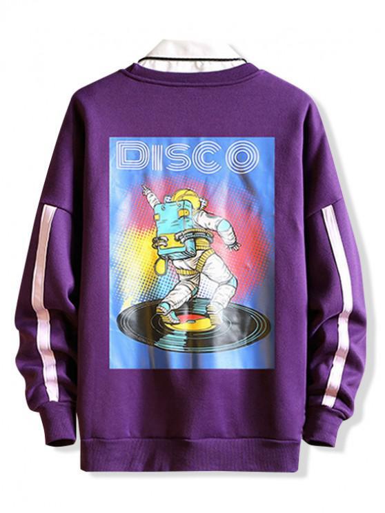 shop Graphic Print Drop Shoulder Casual Sweatshirt - PURPLE 2XL
