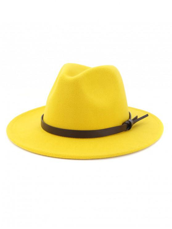 latest Woolen Solid Belt Tie Jazz Hat - YELLOW
