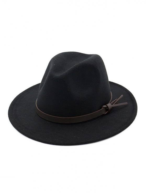 fashion Woolen Solid Belt Tie Jazz Hat - BLACK