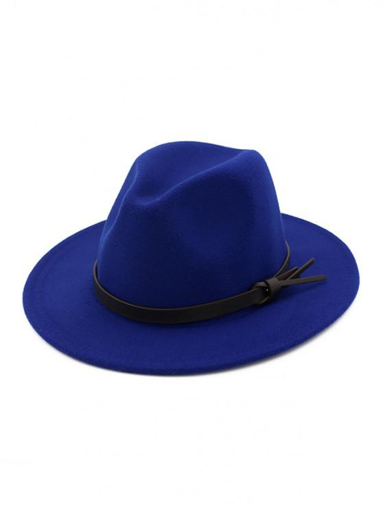 buy Woolen Solid Belt Tie Jazz Hat - BLUE