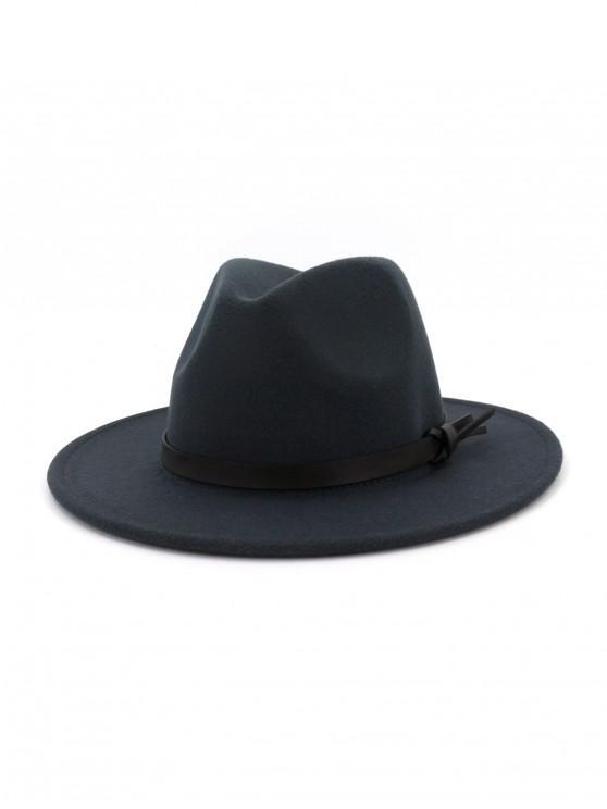 women Woolen Solid Belt Tie Jazz Hat - DARK GRAY