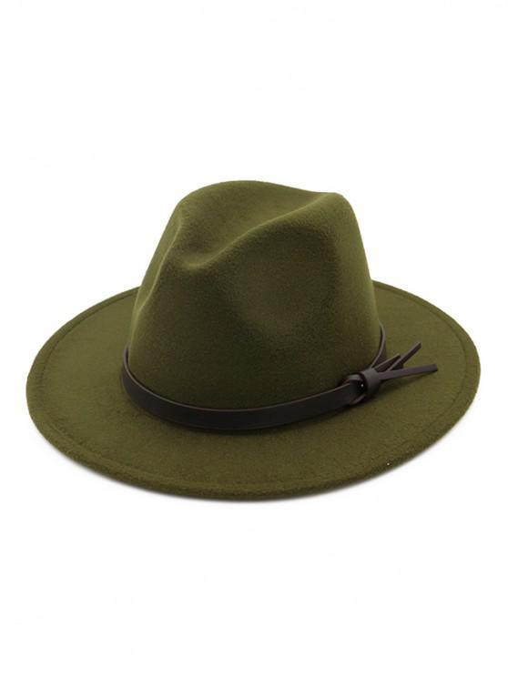 shop Woolen Solid Belt Tie Jazz Hat - ARMY GREEN
