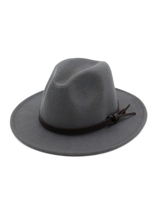 sale Woolen Solid Belt Tie Jazz Hat - GRAY