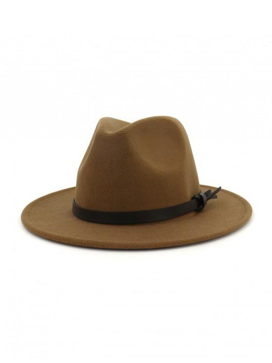 buy Woolen Solid Belt Tie Jazz Hat - KHAKI