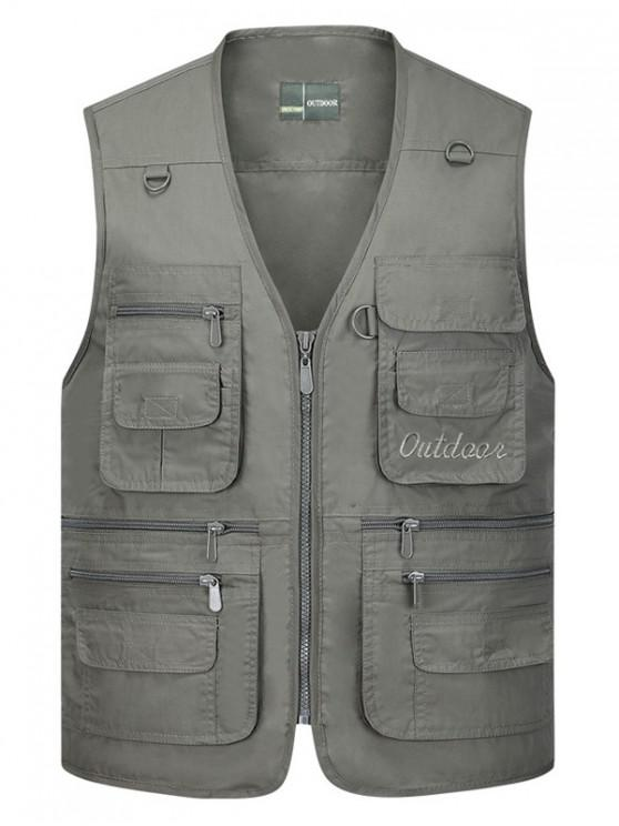 outfits Solid Multi Zip Pocket Travel Waistcoat - GRAY 4XL
