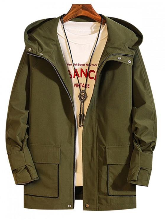 best Solid Color Zip Up Pocket Decorated Jacket - ARMY GREEN 2XL