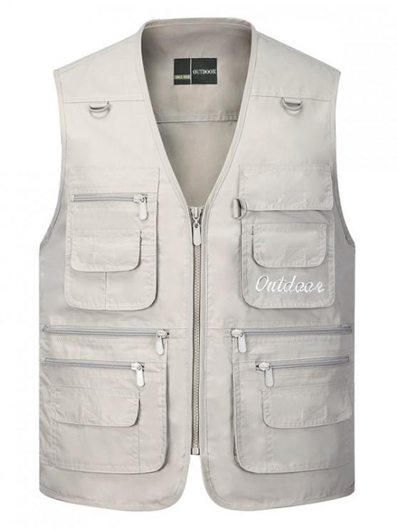 hot Solid Multi Zip Pocket Travel Waistcoat - BEIGE 2XL