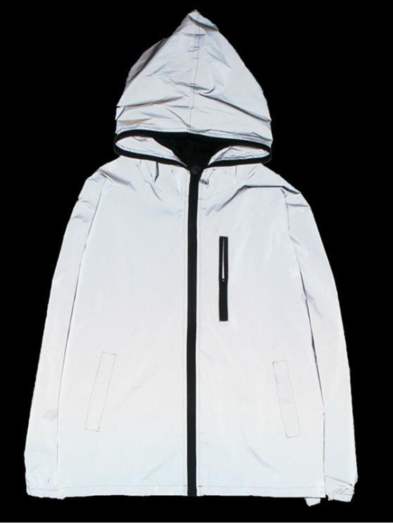 fashion Luminous Design Zip Up Jacket - SILVER S