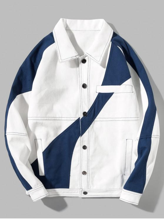 sale Casual Color Spliced Button Up Jacket - WHITE S