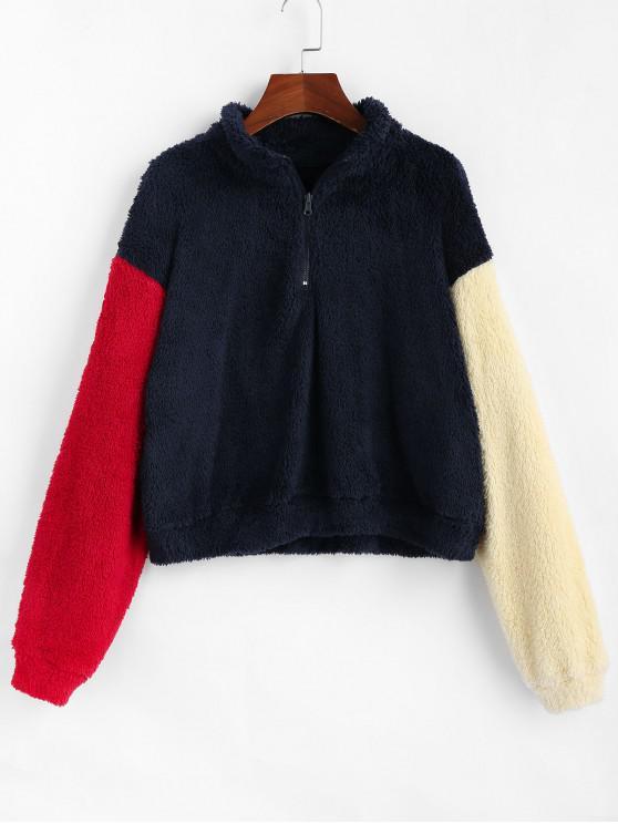 hot ZAFUL Color-blocking Quarter Zip Drop Shoulder Fluffy Sweatshirt - MULTI XL
