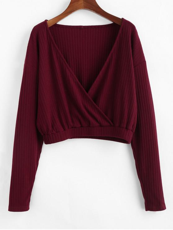 women ZAFUL Ribbed Cropped Surplice Knitwear - RED WINE S