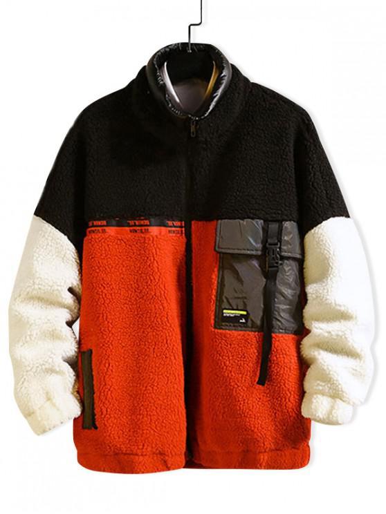 best Color Blocking Drop Shoulder Faux Fur Fluffy Jacket - BLACK L