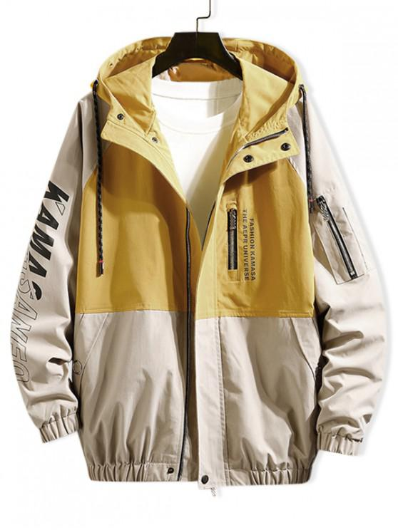 fashion Colorblock Spliced Letter Raglan Sleeve Hooded Jacket - CORN YELLOW L