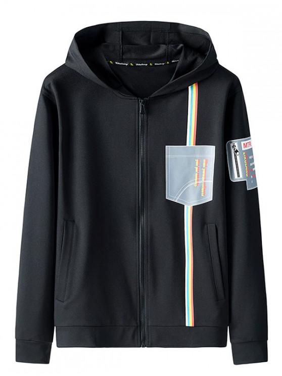 shop Graphic Print Zip Up Hooded Jacket - BLACK L