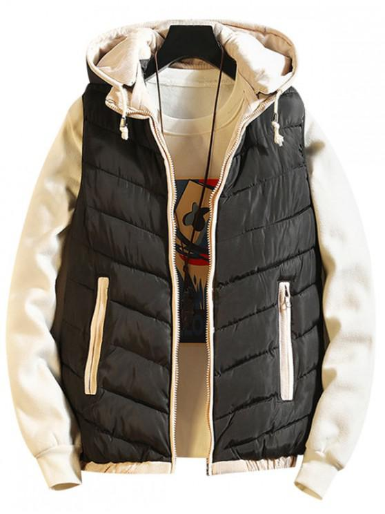 new Contrast Trim Spliced Drawstring Hooded Quilted Waistcoat - BLACK S