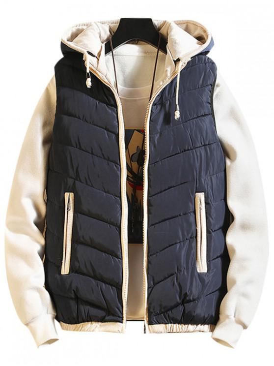 trendy Contrast Trim Spliced Drawstring Hooded Quilted Waistcoat - BLUE XS