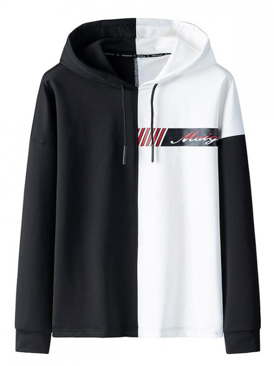 affordable Color Spliced Letter Printed Drawstring Hoodie - WHITE S