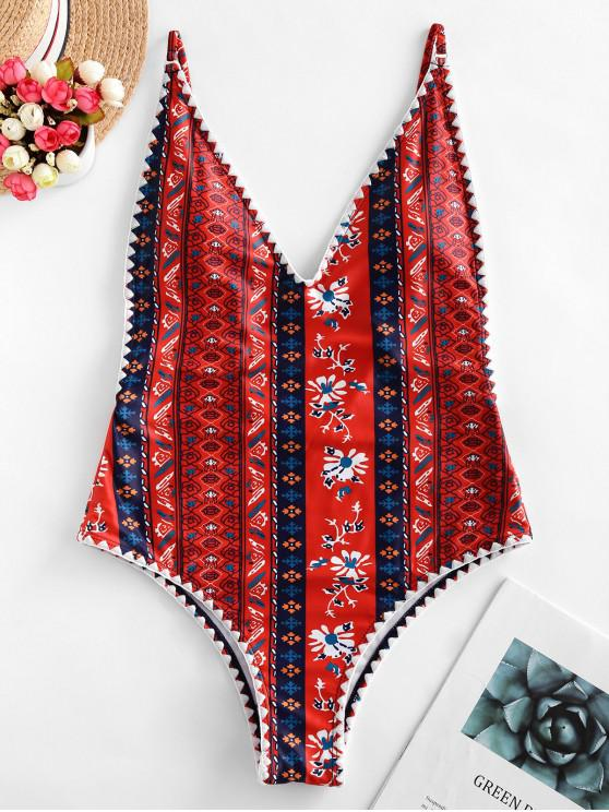 unique ZAFUL Boho Flower Whip Stitch Backless One-piece Swimsuit - MULTI-A M