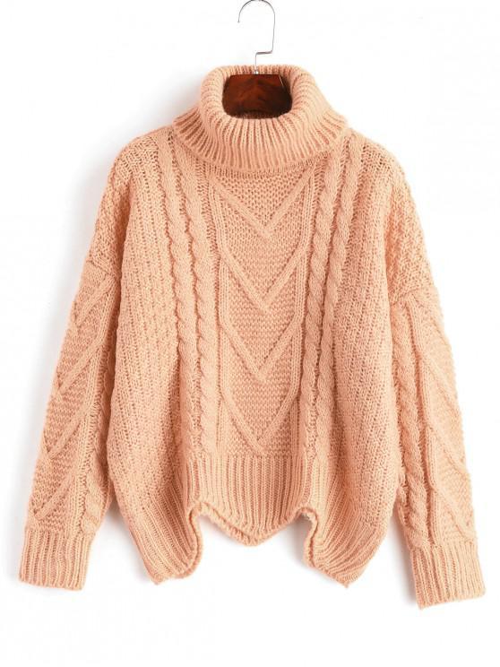 De punto grueso suéter de cuello alto - Rosado Talla única