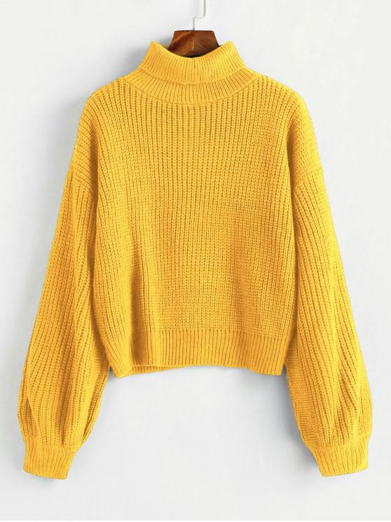 fashion Turtleneck Lantern Sleeves Chunky Sweater - BRIGHT YELLOW ONE SIZE