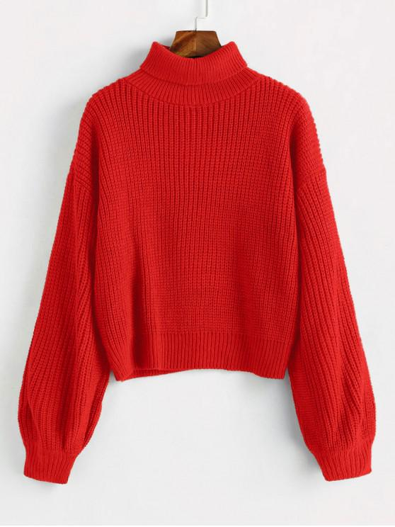 outfit Turtleneck Lantern Sleeves Chunky Sweater - ROSSO RED ONE SIZE