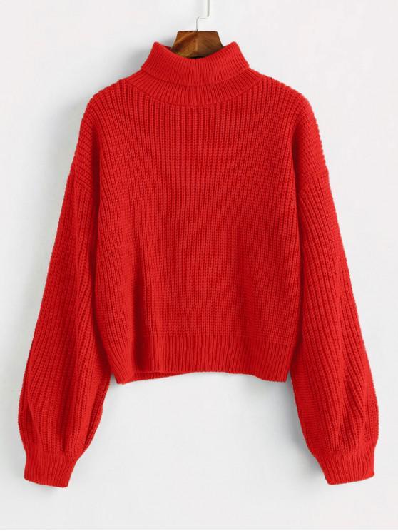 Jersey grueso de cuello alto con mangas linterna - Rojo Rosa Talla única