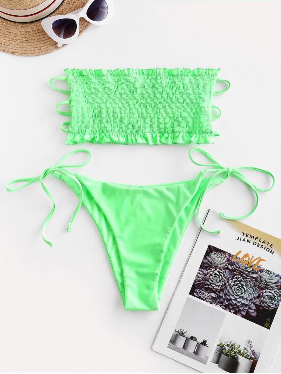 women ZAFUL Smocked Lattice Tie Side Bandeau Bikini Swimsuit - MINT GREEN L