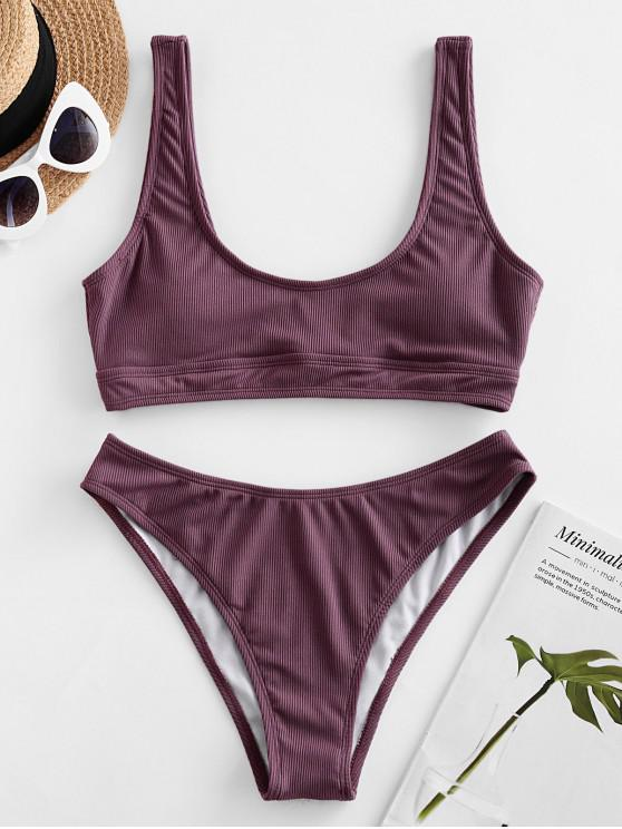 women's ZAFUL Ribbed High Cut Tank Bikini Swimsuit - DULL PURPLE S