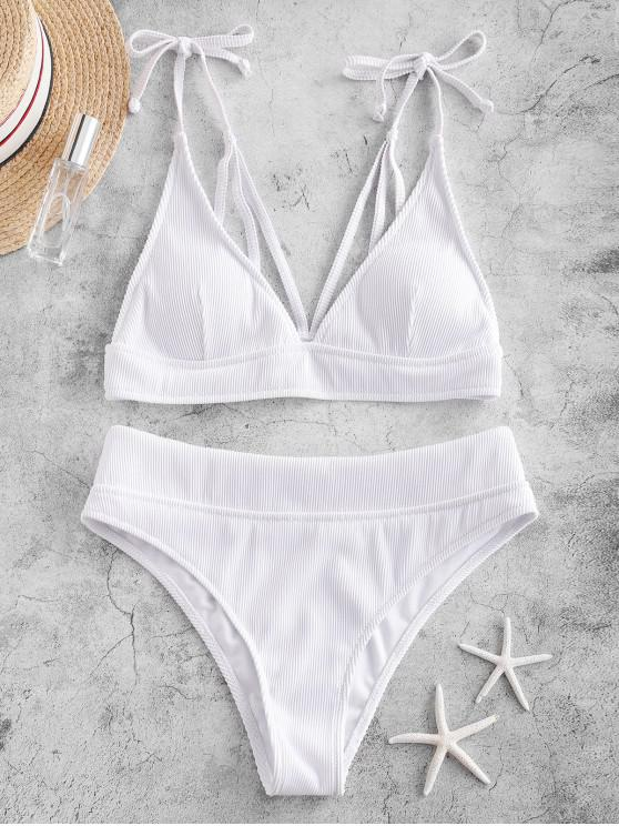 chic ZAFUL Tie Strappy Textured Ribbed Bikini Swimsuit - WHITE M