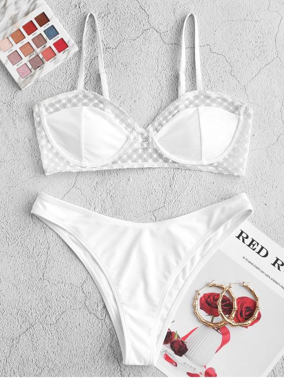 sale ZAFUL Mesh Panel Underwire Bikini Set - WHITE M