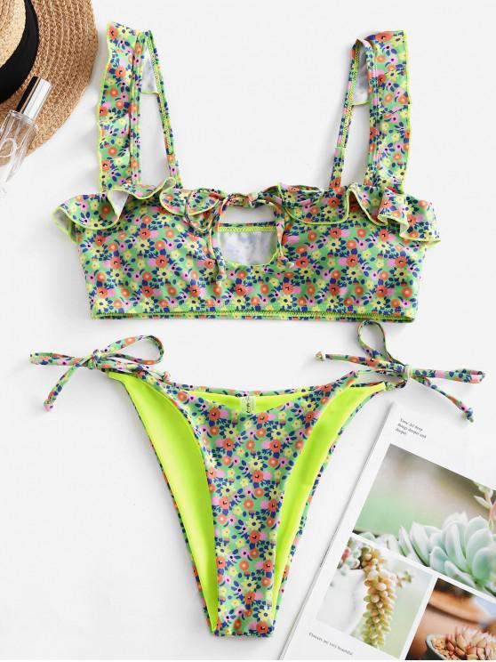 buy ZAFUL Ruffle Ditsy Floral Tie Cutout Bikini Swimsuit - GREEN YELLOW S
