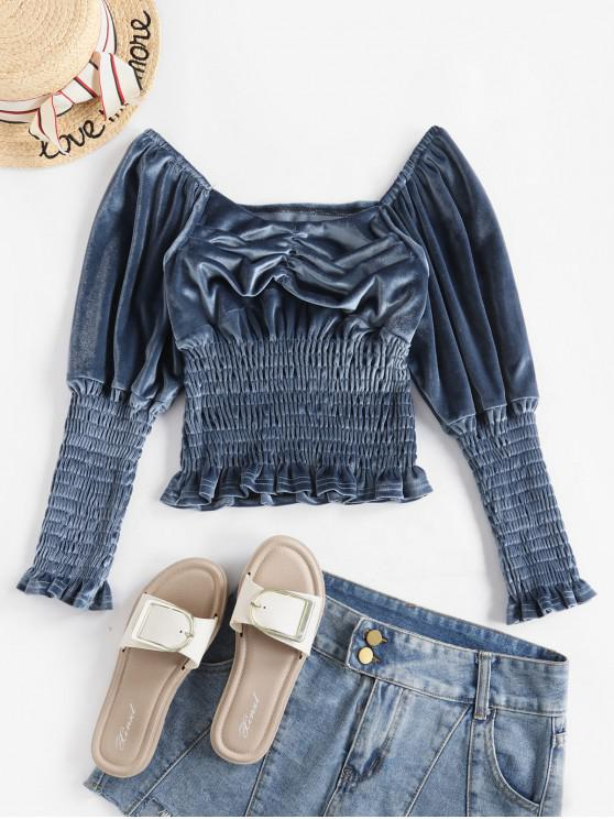 trendy Velvet Off Shoulder Smocked Blouse - BLUE ONE SIZE