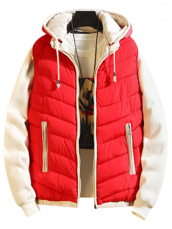 best Contrast Trim Spliced Drawstring Hooded Quilted Waistcoat - RED S