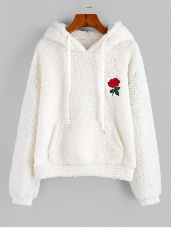 hot ZAFUL Flower Embroidered Drop Shoulder Pocket Teddy Hoodie - MILK WHITE XL