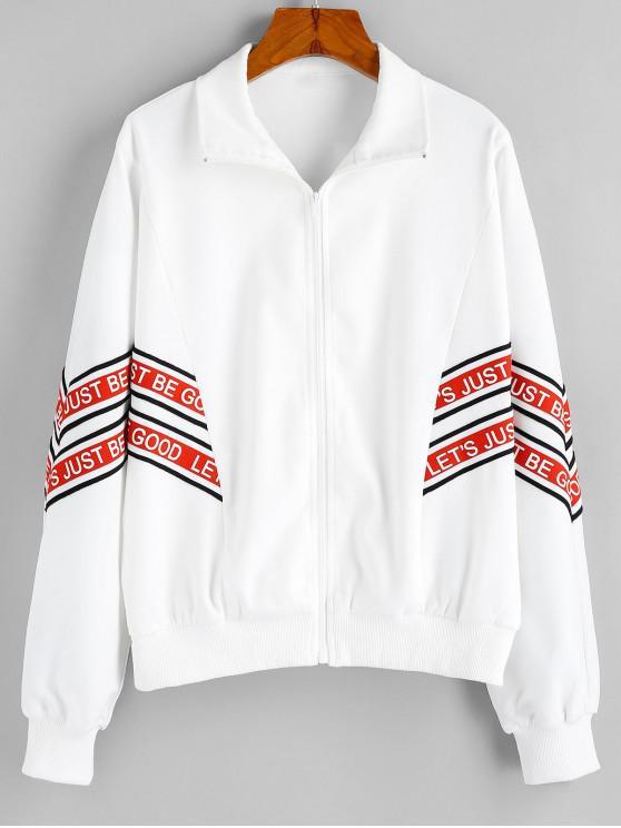 fashion ZAFUL Rib-knit Trim Be Good Graphic Jacket - WHITE M