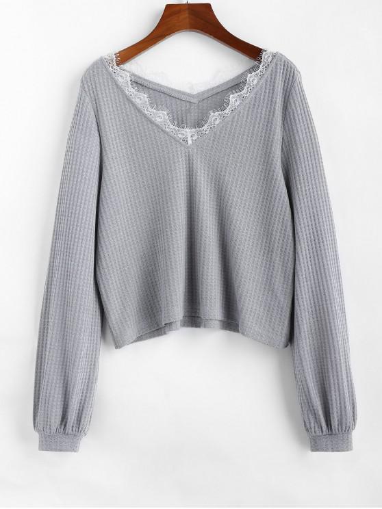 Hot Zaful V Neck Eyelash Lace Knitwear   Platinum L by Zaful