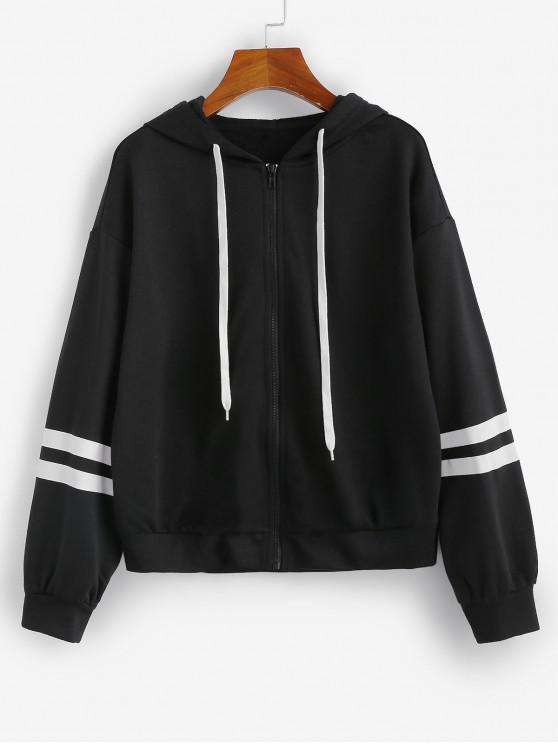 affordable ZAFUL Striped Hooded Drop Shoulder Zipper Jacket - BLACK S